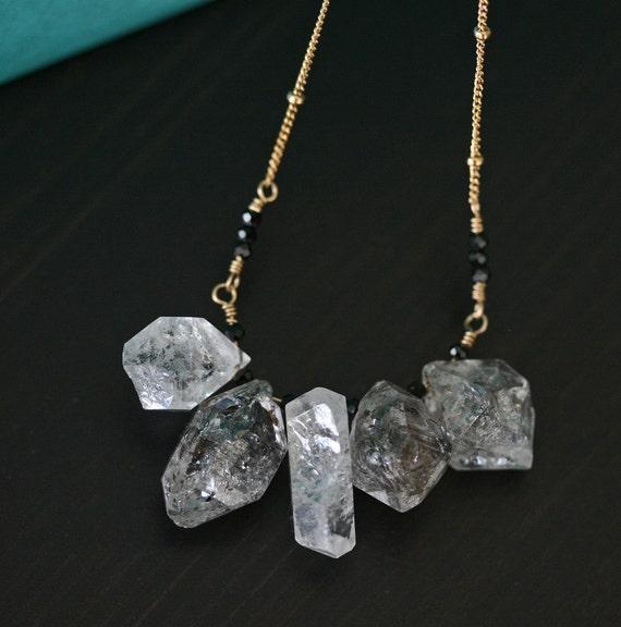 Herkimer Diamond Necklace, Crystal Necklace, Black and White Necklace, Long Necklace, Diamond Necklace, Layering Necklace