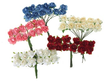 Mini Paper Flowers Branch, 1/2-Inch, 12-Piece