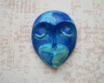 "DREAMING OF LOVE-Polymer Clay Face Cabochon,1 3/4"" by 1 7/16"",large focal,bead,flat back mosaic tile,art doll,bead,No hole,jewelry"