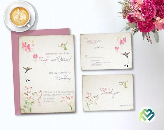 Hummingbird Wedding Invitations: Hummingbird Floral Wedding Invitation Romantic Wedding