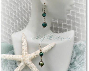 Mermaid Bling - Beaded Sea Green Earrings - On Sale