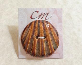 Brown Shell Porcelain Button, Brown Buttons, Handcrafted Porcelain Button, Ceramic Shell Button, Gift for Knitter, Gift for Crocheter,