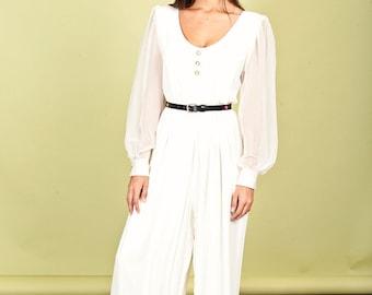80s Pearl White Rayon Jumpsuit Vintage Formal Cocktail Jumpsuit