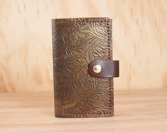 Coin Pocket Wallet - Small Womens Leather Wallet in the Pressed Flower Pattern - LIMITED EDITION