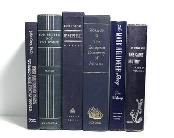 Blue Books, Large Bundle of 6 Decorative Hardcover Books, Lightly Shabby, The Caine Mutiny, American History, Office Decor, Home Staging