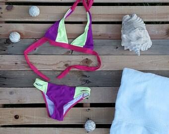 Pink, Green, Purple, Block Print Bikini - Vivica