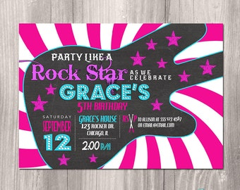 Rock Star Birthday Invitation, Girl Rock Star Invitation, Printable Rock Star Invitation, Girl Rockstar Invitation, Rocker, Rock n Roll