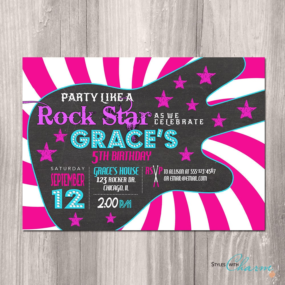 Rock Star Birthday Invitation Girl Rock Star Invitation