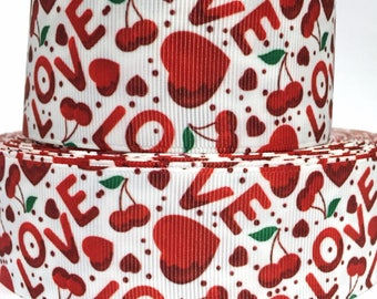"""GROSGRAIN RIBBON 7/8"""" Valentine's Day - Love - Hearts - Cherries  - V40 - Printed   -  Sold  By the Yard"""