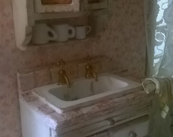 Miniature Dollhouse-SINK and KITCHEN CABINET-kitchen sink with Cabinet Miniature