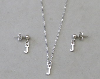 Tiny Initial J Necklace and Earring Set - Gold or Silver Plated