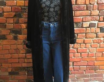Gorgeous 1990's Faux Fur Black Floor Length Jacket Coat with Side Slits 1140