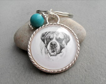 Boxer Key Ring, Birthstone Keychain, Gemstone Keychain, Pet Memorial Gift, Pet Gift, Boxer Keychain,Dog Owner Gift, Boxer Lover Gift
