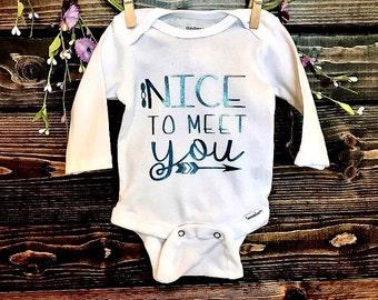 Custom Baby Onesie | Nice to Meet You | Handmade | New Baby Onesie | Just Born Baby