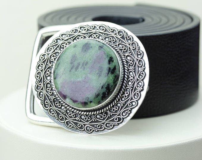 Round Shaped Tanzanian RUBY in ZOISITE Vintage Filigree Antique 925 Fine S0LID Sterling Silver + Copper BELT Buckle T53