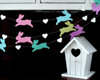 Bunny Love Garland- Party, Shower, Nursery, Children's Room decoration