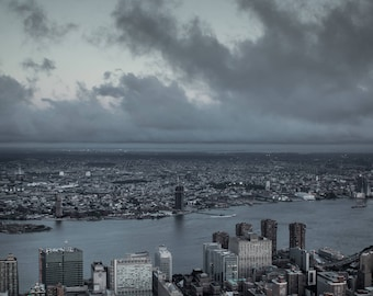 New York City Skyline with Moon, Financial District of New York City, Big Apple State, Empire State, Storm Clouds over the City, Evening