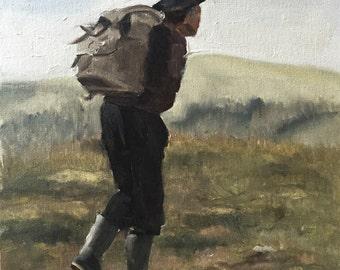 Hiker Painting Hiker Art PRINT Rambing Hill Walking Art  - Art Print  - from original painting by J Coates