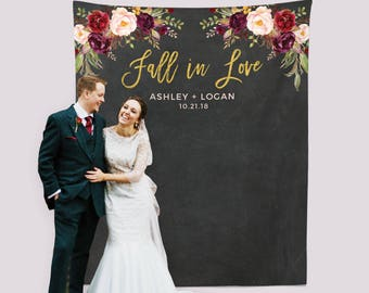 Fall In Love Wedding Banner, Marsala Photo Backdrop, Photo Booth Backdrop, Autumn Wedding Decorations, Fall Engagement Banner, Chalkboard