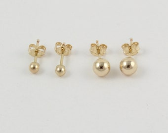 Gold ball studs | 2 pairs of ball studs | Set of 4 gold studs | Gold stud earrings | Tiny ball studs | Small gold earrings | Gold round stud