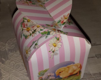 Easter Gift Pillow Printable Box Digital Download Template Baby Chicken Chick Pink Stripe Daisies Party Favor Chocolate Candy
