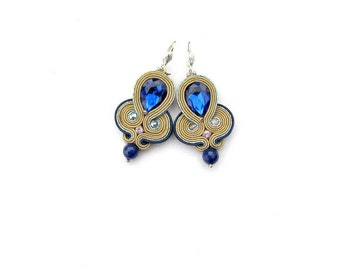Nude Dangle Earrings - Glamour Soutache Earrings with Crystals - Handmade Earrings from Poland