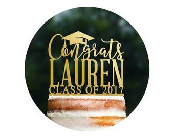 Custom Graduation Cake Topper, Congrats Grad Cake Topper Graduation Decorations High School Graduation Cake Topper College Grad Party (T382)