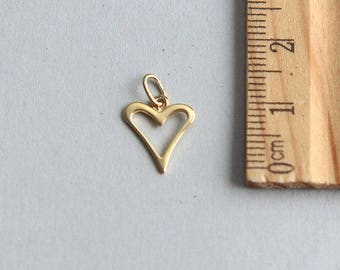 SALE, Gold Vermeil heart charm, 24K gold plated sterling silver Charm, Love Charm, Gold Heart Charm, Tiny Gold Plated Heart, 10mm( 1 piece )