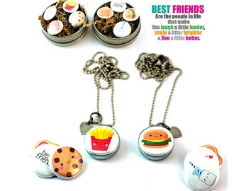 Best Friends Jewelry for Children, Hamburger and Fries, Milk and Cookies, Peanut Butter and Jelly, PERSONALIZED, Magnetic, 4 in 1, BFF Set