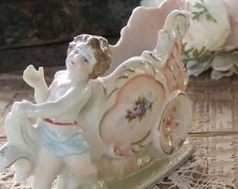 Vintage French Cottage Style Cherub Porcelain Vase, Shabby Cottage, Housewarming Gift Inspired