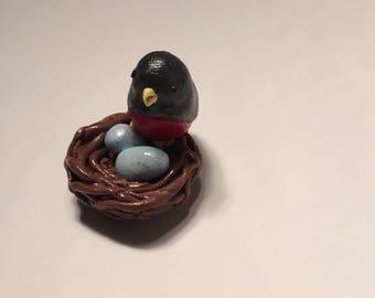 Robin's Nest with Eggs Polymer Clay Handmade