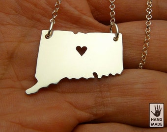 Connecticut State Map Handmade Personalized Sterling Silver .925 Necklace in a gift box