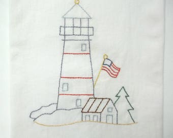 Lighthouse Embroidered Kitchen Towel Flour Sack Kitchen Towel Nautical Patriotic