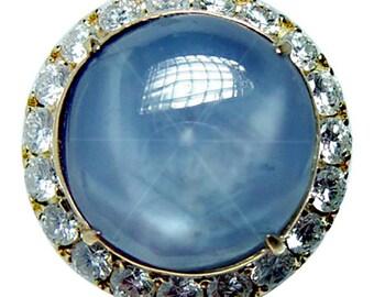 Vintage 18K Gold Star Sapphire Diamond Ring Giant Heavy Estate  Certified 26ct