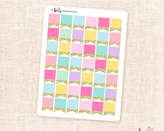 Glitter page flags - 42 mini rainbow planner stickers