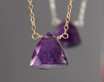 Amethyst Necklace, Amethyst Choker, February Birthstone, Triangle Shaped Amethyst Necklace, Gemstone Necklace, Pendant Necklace