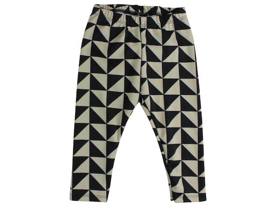Black and Stone Triangle Baby Leggings Black Triange Toddler Leggings Geometric Girl Leggings Triangle Boy Leggings Baby Pants Tribal
