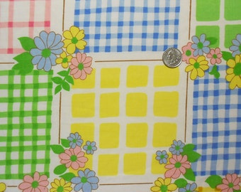 Checks and Flowers on Vintage Sheet Fat Quarter
