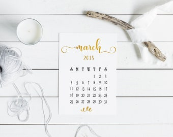 Elegant March Printable 2018 Calendar