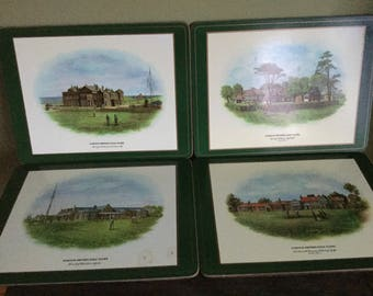 Pimpernel Famous British Golf Courses Placemates from England set of four