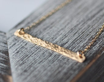 Skinny Gold Bar Necklace, Skinny Bar Necklace, Gold Bar Necklace, Layering Necklace, Layer Necklace, Layered Necklace, Hammered Bar, Minimal
