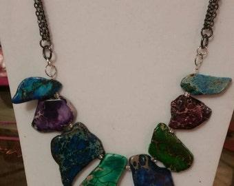 Multi colored stone chain necklace