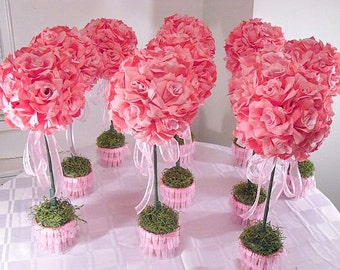 2 red rose topiaries wedding flowers party centerpieces set of 10 pinktopiaries silk flower table centerpieces made to order wedding f mightylinksfo