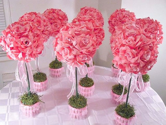 Set of 10 PinkTopiaries Silk Flower Table Centerpieces