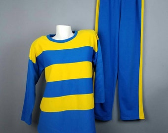 80s Vanity Fair Pajama Set, Matching Sweats Set, Yellow Blue Striped Outfit, Winter Pajamas, 80s Sweatsuit, Slouchy Sweater Sweatpants