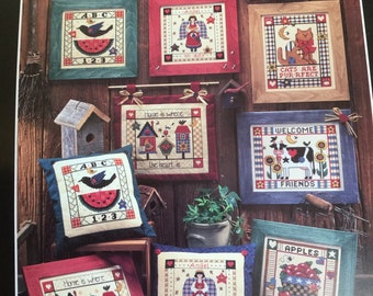 Dimensions counted cross stitch leaflet- COUNTRY PLEASURES -  1996