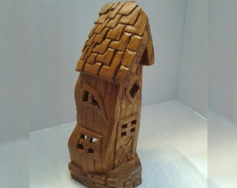 Whimsical house carving Cottonwood bark handmade housewarming gift