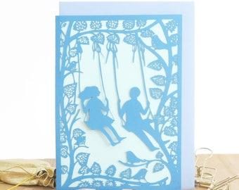 Couple swing set card, Cute anniversary card, Valentines Day card, Love you card, Card for girlfriend, Card for boyfriend, Romantic card