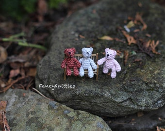 One Crochet Teddy Bear Dollhouse Miniature Toy, 1 inch Doll, Tiny Art Micro Miniature Fancy Amigurumi Doll for 1/12 Dollhouse, Collectable