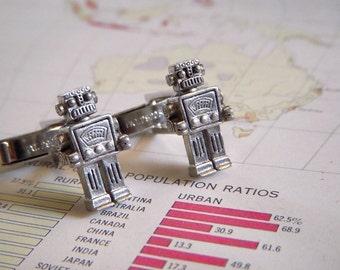 Silver ROBOT CUFFLINKS Men's Cufflinks Original Design Featured In Real Simple Magazine Wedding Cufflinks